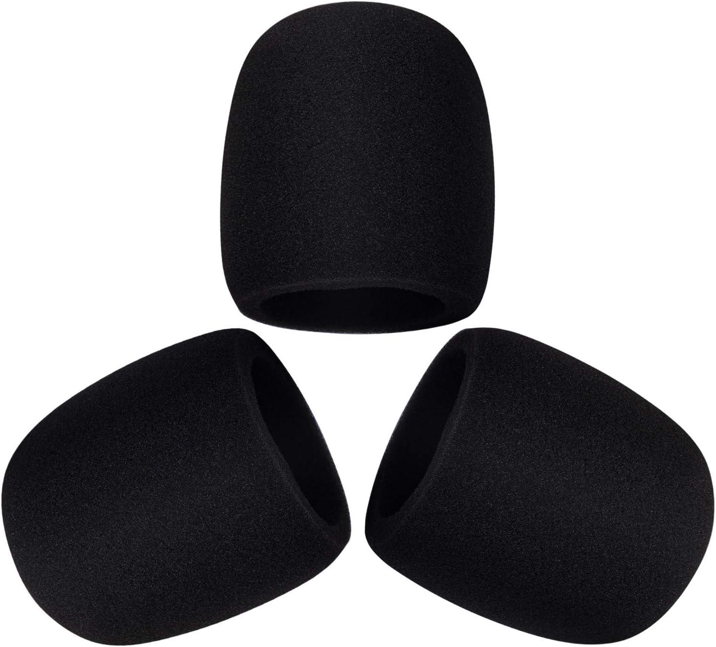 3 Piece Blue Yeti Mic Cover Foam Microphone Windscreen for Blue Yeti, Yeti Pro Condenser Microphone(Size A, Black)