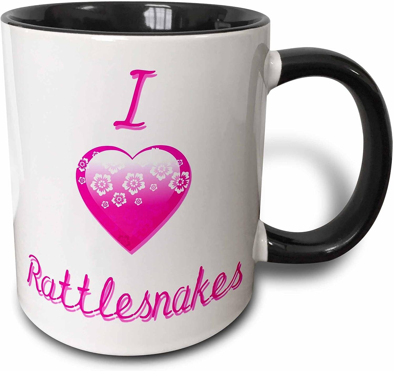 Two Tone Black Mug 3dRose 3dRose Pretty Pink Flowery I Love Rattlesnakes Mug/_121753/_4 11oz Black//White