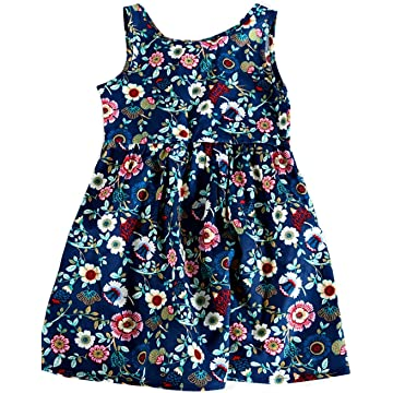 Lantusi Children Girls O Neck Sleeveless Bowknot Print A Line Dress Dressers