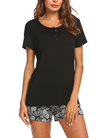 e243d7117e IN VOLAND Women s Shorts Pajama Set Short Sleeve Sleepwear Nightwear Pjs  S-XXL Black