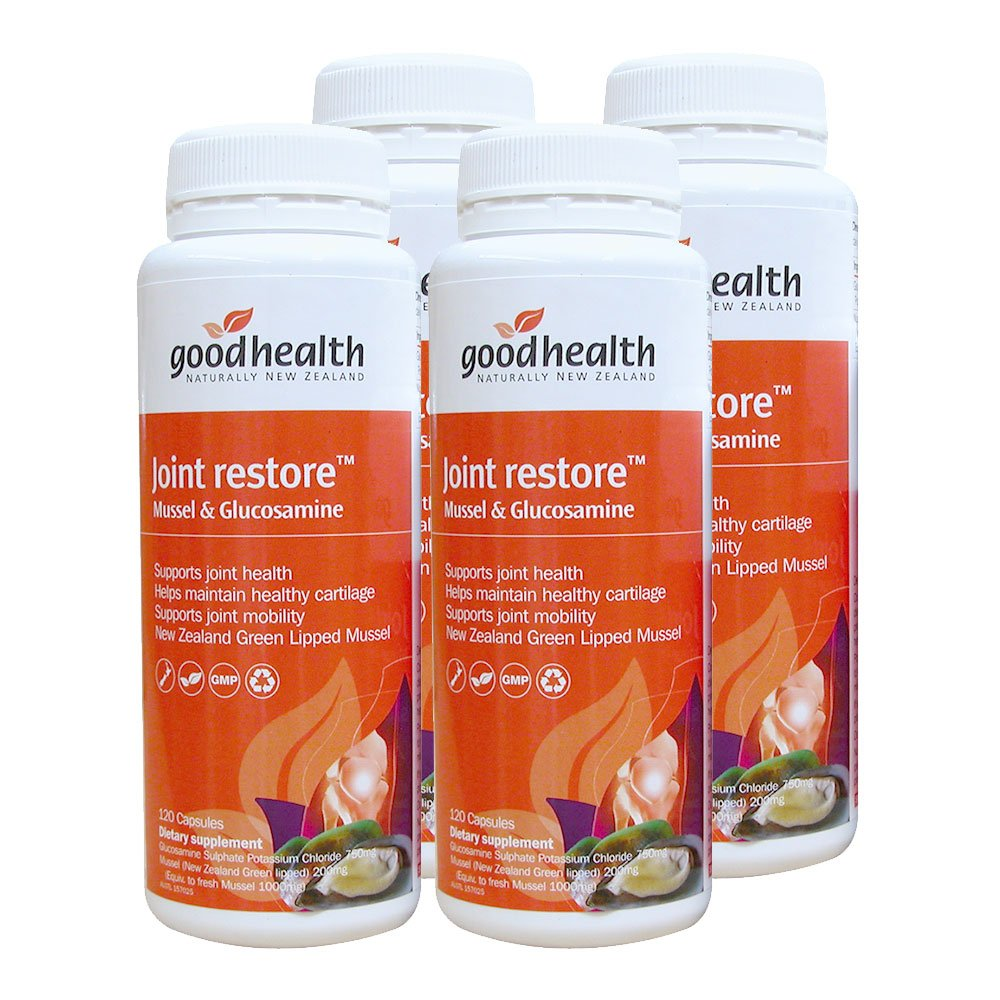 GoodHealth Joint Restore Mussel & Glucosamine 120 Capsules New Zealand Green Lipped Mussel Supports Joint Mogility Health (Pack of 4)