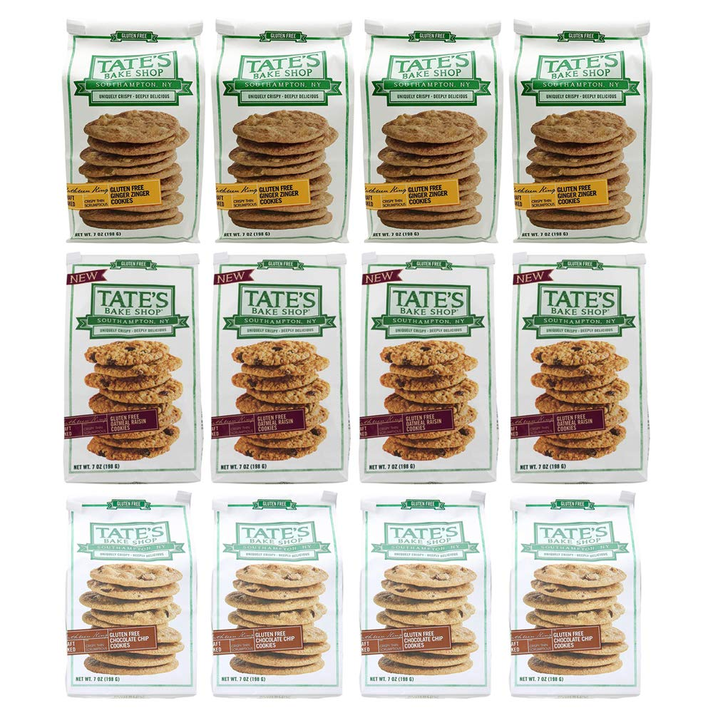 Tate's Bake Shop Thin & Crispy Cookies, Gluten Free Variety Pack (Ginger Zinger, Oatmeal Raisin, Chocolate Chip), 7 Oz, Pack Of 12 by Tate's Bake Shop
