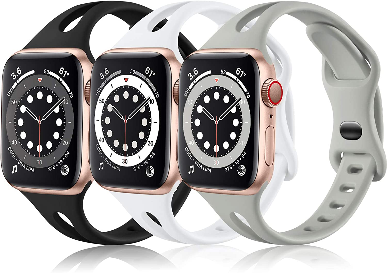 (3 Pack) Vcegari Sport Bands Compatible with Apple Watch 44mm 42mm Women, Soft Thin Silicone Strap for iWatch SE & iWatch Series 6 5 4 3 2 1, Gray/White/Black