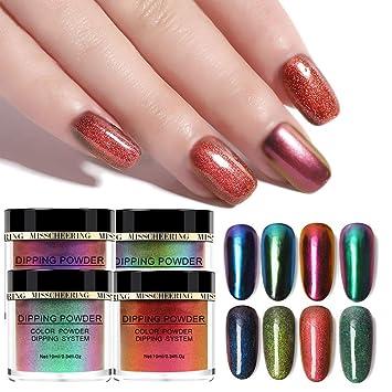 Amazon com: JAWM 4Pcs Chameleon Nail Art Powder Mirror