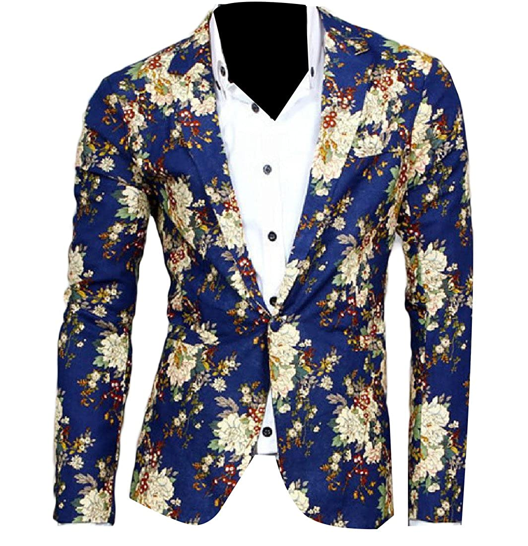 Nicelly Mens Stitching Casual Notch Lapel Patch Sport Coat Jacket Blue XL