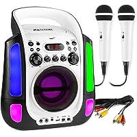 Karaoke Machine Potable Bluetooth Speaker Duel Microphone LED Light USB CD AUX