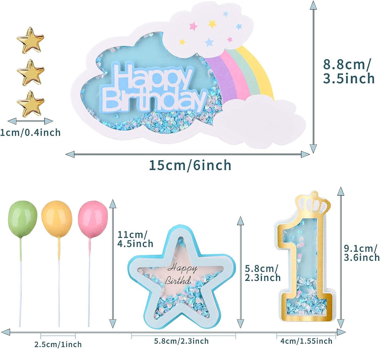 VAINECHEY Decoraciones Pasteles Topper Pastel Decoracions Cumplea/ños Happy Birthady Cupcake Toppers Magdalena Tarta Cumplea/ños Ni/ños Ni/ñas Azul 1 A/ño