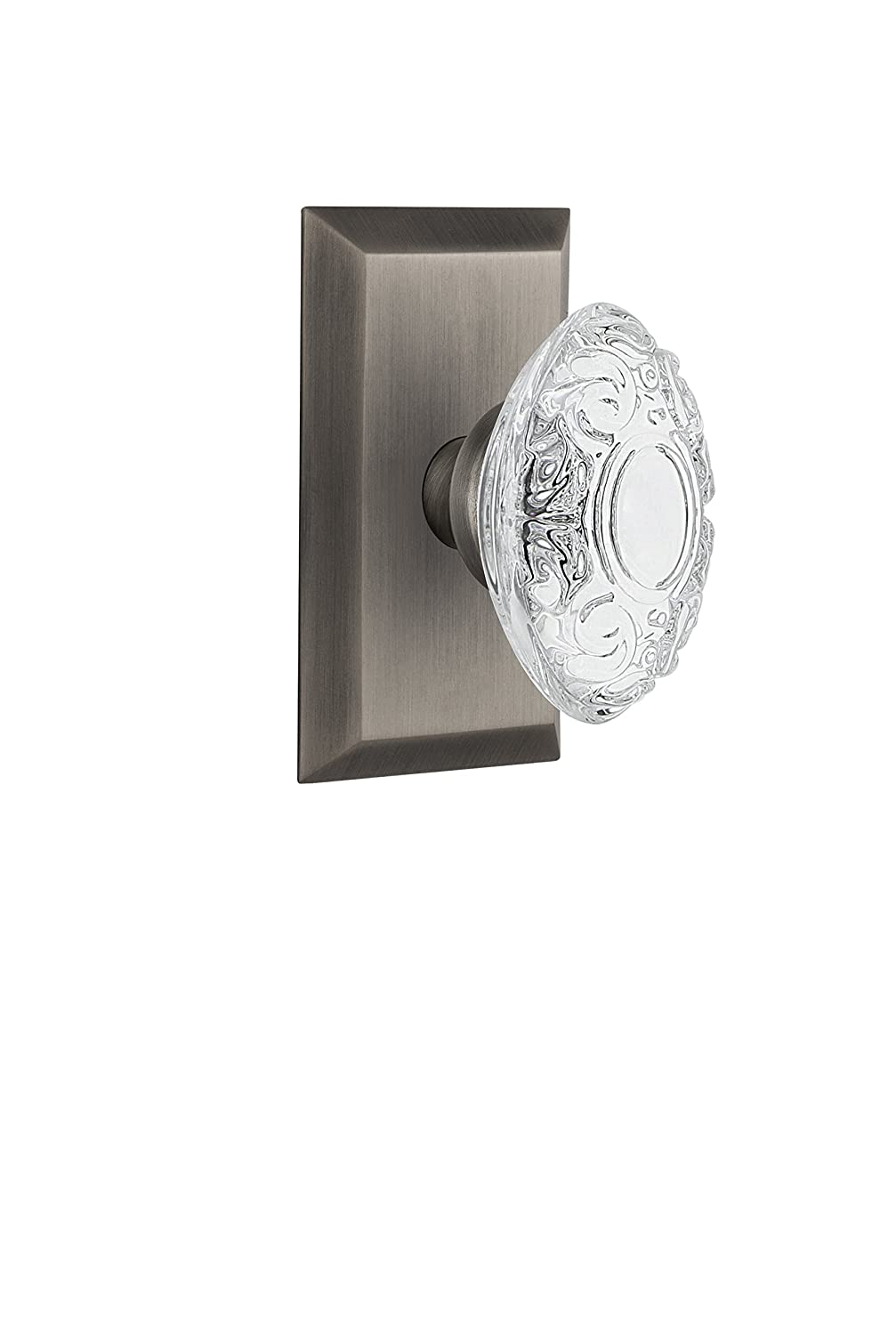 Nostalgic Warehouse 754114 Studio Plate with Crystal Victorian Privacy Door Knob 2.75 Antique Pewter