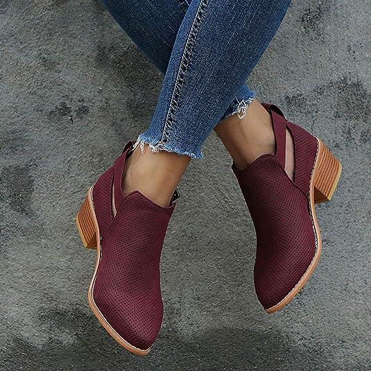 Amazon.com | AgrinTol_Women Shose Womens Hollow Booties, AgrinTol Pointed Toe Buckle Strap Square Heel Pump Shoes Black | Ankle & Bootie
