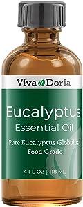 Viva Doria Pure Eucalyptus Essential Oil, Pure and Natural, Food Grade, Premium Quality Eucalyptus Globulus Oil, 118 mL (4 Fluid Ounces)