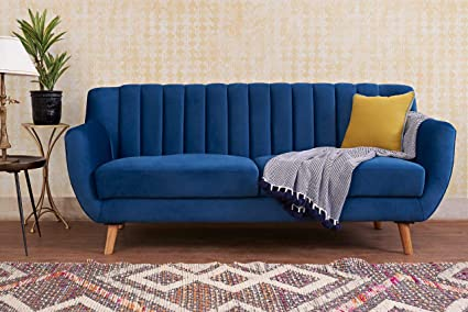 Awe Inspiring Peachtree Daveline Blue 3 Seater Fabric Sofa Amazon In Squirreltailoven Fun Painted Chair Ideas Images Squirreltailovenorg