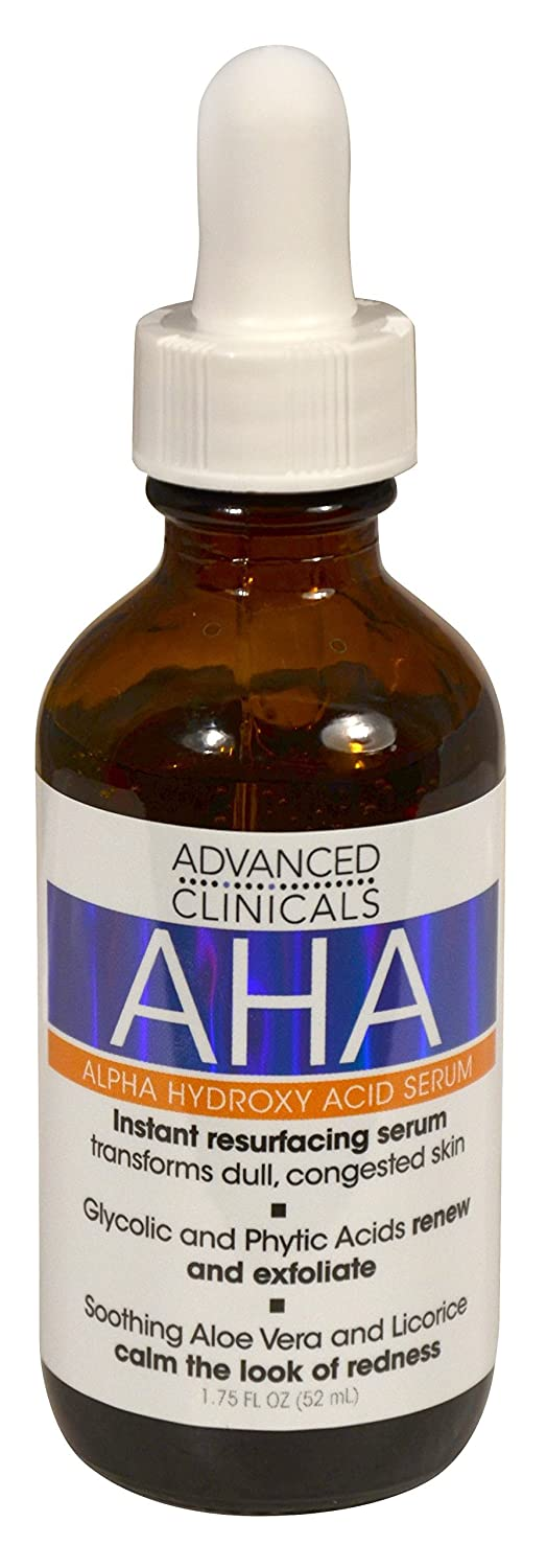 Advanced Clinicals AHA Alpha Hydroxy Acid Instant Resurfacing and Hydrating Serum 1.75 Fl Oz. (1.75oz)