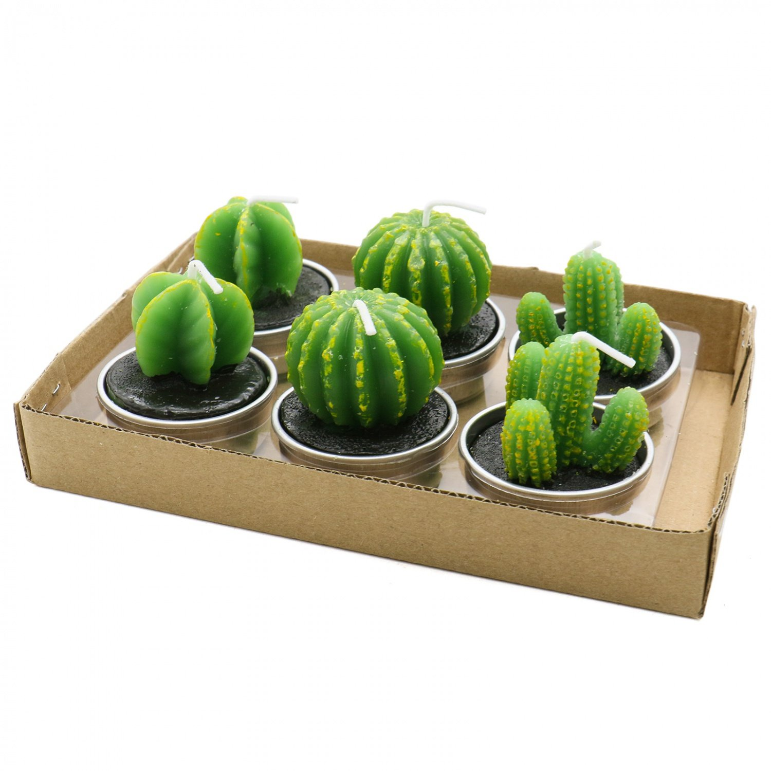 Rugjut 3 Styles Green Cactus Candle Tea Light Candles for Birthday Party Wedding Spa Home Decoration , 6 Pack