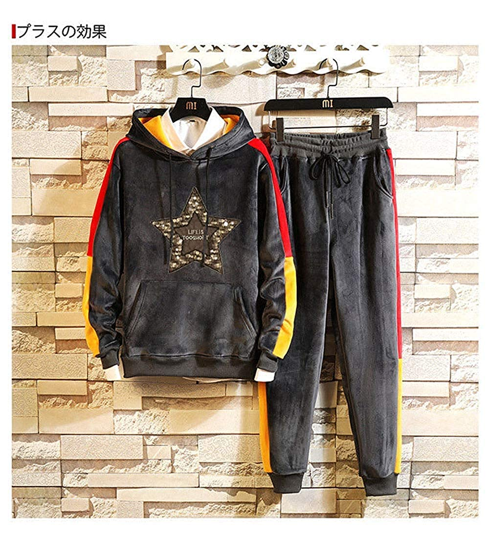 TOP Fighting Mens Hooded Tracksuit Pullover Casual Jogging Gym Sweat Suits
