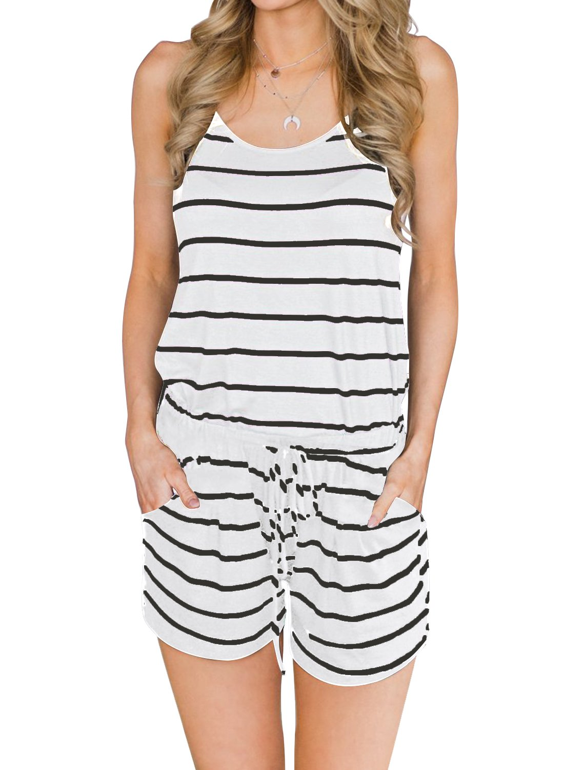 MIHOLL Women's Summer Striped Jumpsuit Casual Loose Sleeveless Jumpsuit Rompers (Small, A-White Black)