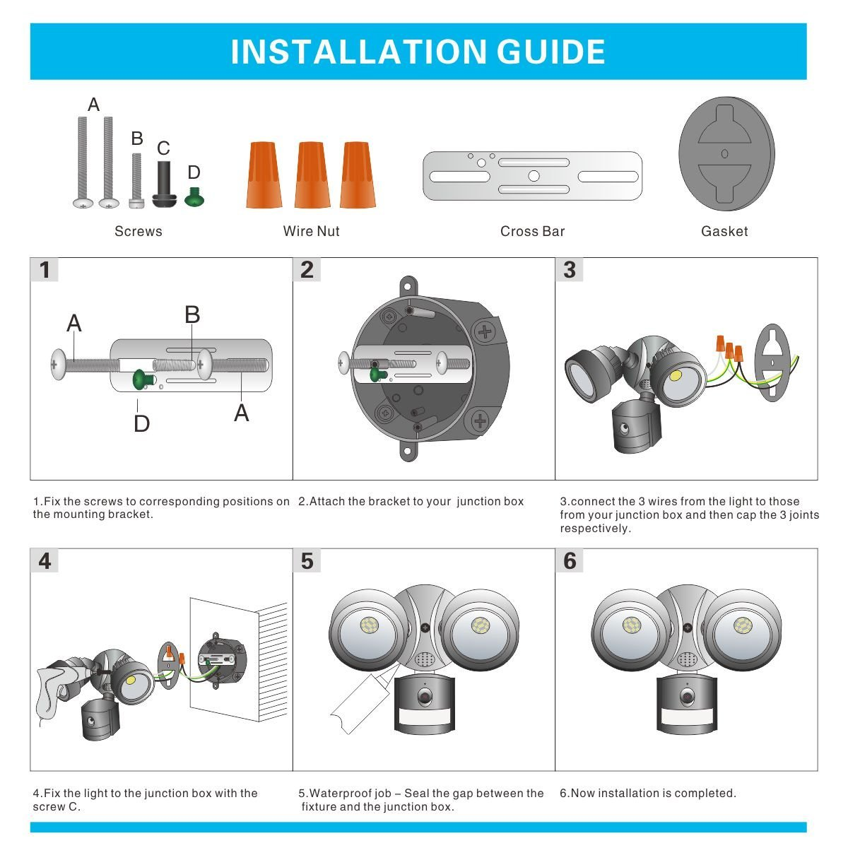 Led Solar Motion Sensor Flood Light Activated Outdoor Junction Box Wiring Diagram For Fixture Security With 2 Adjustable Heads