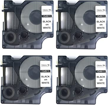 45013 S0720530 Compatible for DYMO D1 Label Tape 12mm Black on White 4PK