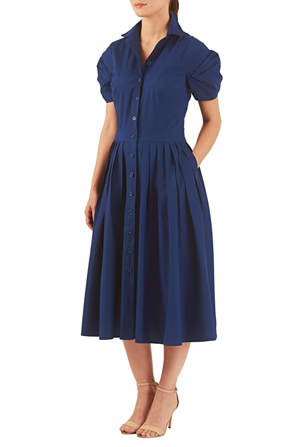 Plus Size Retro Dresses eShakti Womens Stretch poplin statement puff sleeve shirtdress $52.95 AT vintagedancer.com