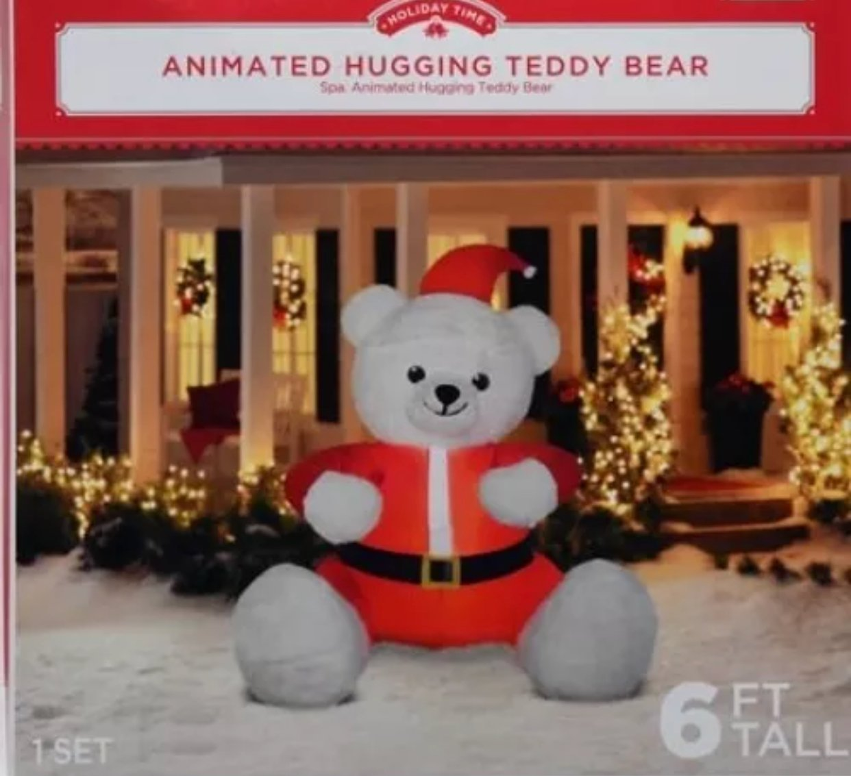 Christmas inflatable animated hugging teddy bear