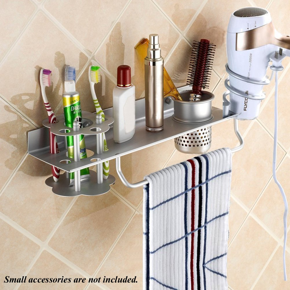 BIBNGLO Hair Dryer Holder Wall Mount Hair Blow Dryer Holder Space Aluminum Hanging Rack Organizer for Hair Dryer Toothbrush Towel Rack Bathroom Accessories Storage Organizer with Cup