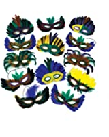 12 Feather Mardi Gras Masks Costume Party Masquerade