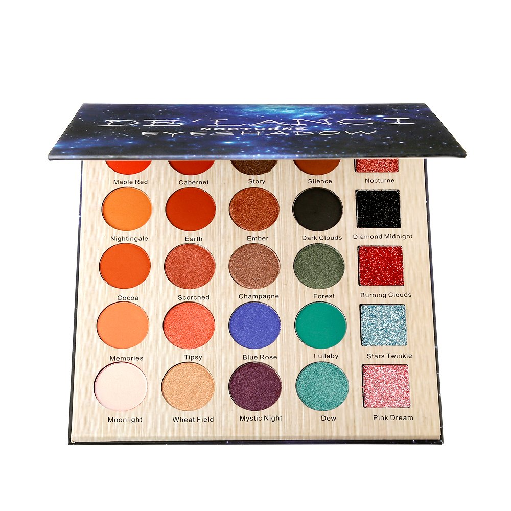 DE'LANCI Eyeshadow Makeup Palette, 5 Glitter and 20 Matt&Shimmer Eyeshadow, Highly Pigmented Makeup Palette with Makeup Mirror DE'LANCI