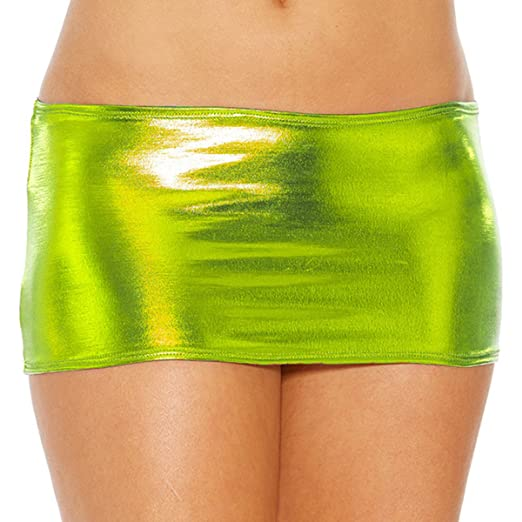 1646fc93ea Image Unavailable. Image not available for. Color: IWEMEK Women Shiny  Metallic Wet Look Bodycon Short Mini Skirt Sexy ...