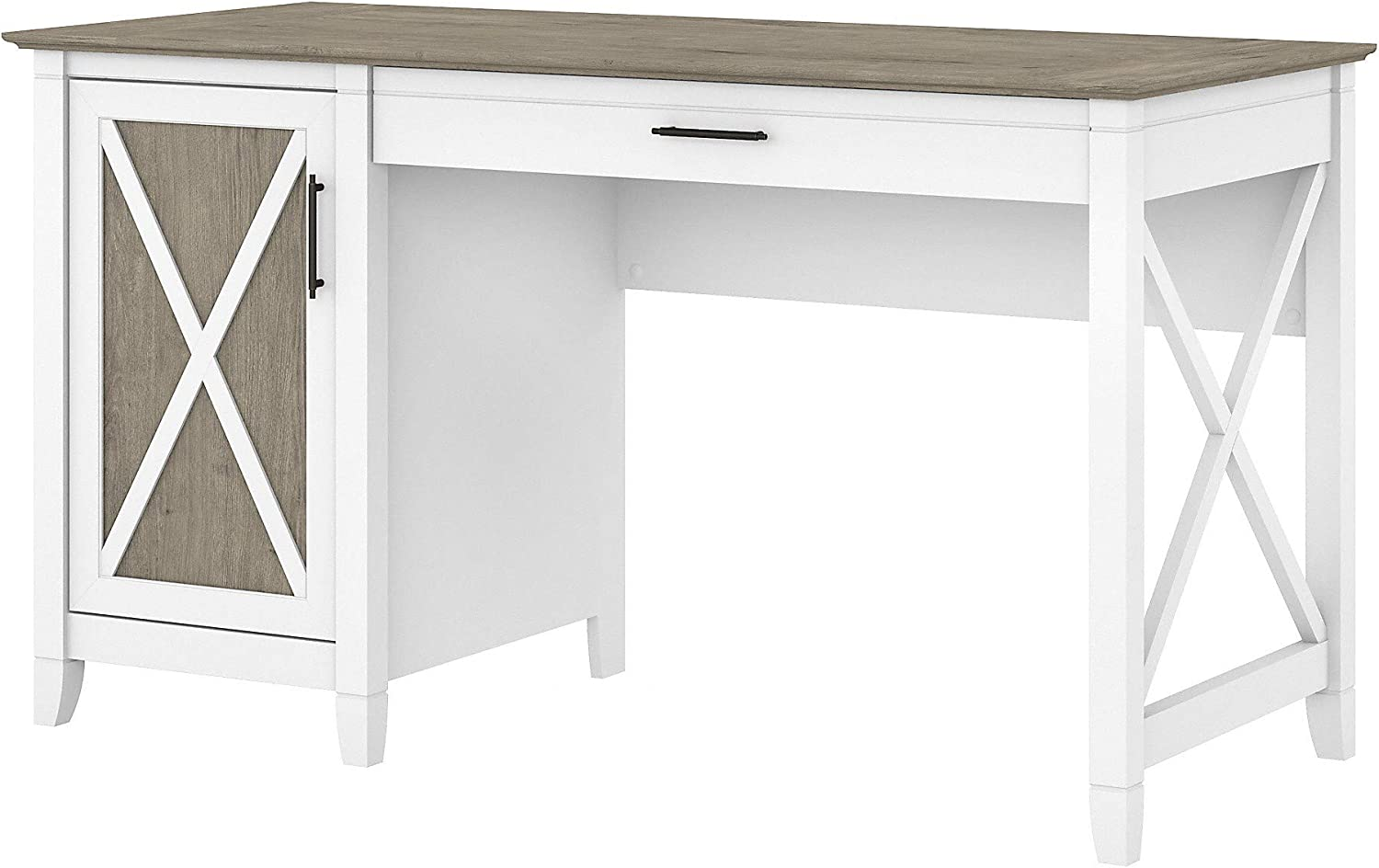 Bush Furniture Key West 54W Computer Desk with Keyboard Tray and Storage, Pure White and Shiplap Gray