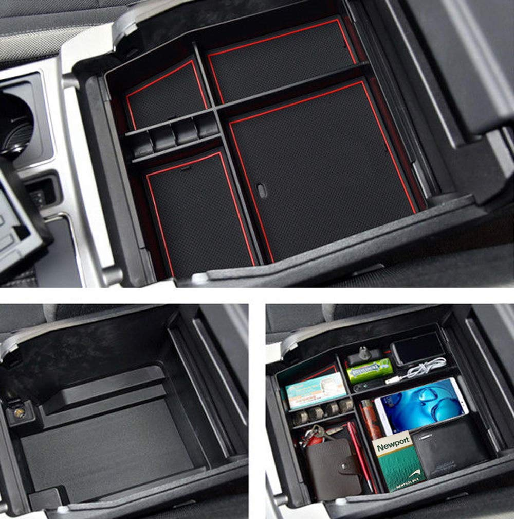 iJDMTOY Exact Fit Center Console Organizer Compartment Box w//Inside Mats For 2015-up Ford F-150 or 2017-up Raptor