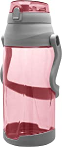Wellness 198278 Large Sports Water Bottle with Push Button Pop Up Lid & Pull Out Carry Handle, 88 oz, Pink