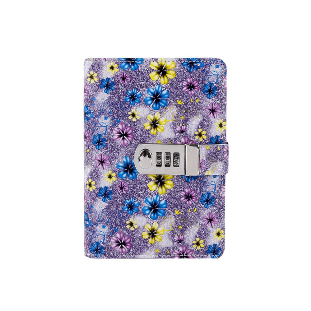 JunShop Floral Loose Leaf Covers Password Lock Diary Composition Lock Journal Binder Planners (7.3×5.3 Inch) A6 PU Leather Locking Journal Diary (Purple)