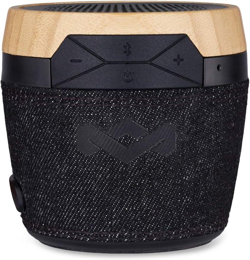 The House of Marley Chant Mini Altavoz Inalámbrico Bluetooth Portátil, Diseño Resistente a Las Salpicaduras (IPX4), Micrófono Integrado, Entrada Auxiliar, Mosquetón, Negro