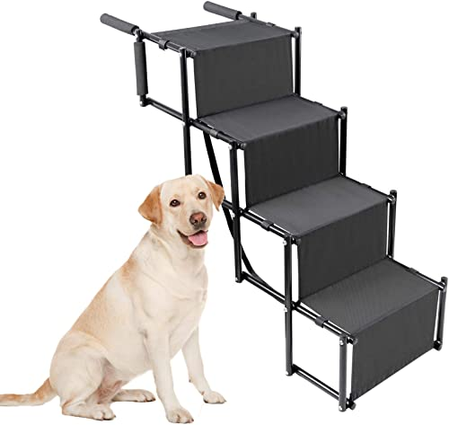 Golden Coast Unlimited Dog Car Accordion Folding Stairs – Metal Frame Collapsible Pet Ramp with Four Steps – Lightweight, Portable, Adjustable Ramp Ladder for Car, SUV, Truck, Couch, Bed
