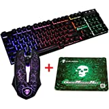 urchoiceltd® 2017 Meiying T6 Arcobaleno Retroilluminata Multimedia Ergonomic USB Gaming Keyboard + 2400 DPI 6 tasti ottico arcobaleno LED USB Mouse da Gioco + Il Lich King Gaming Mouse Pad 220 * 180 * 5 mm Misura Standard
