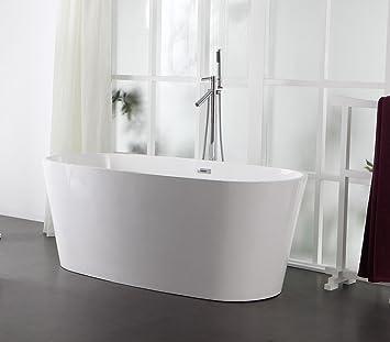 Freistehende Badewanne aus Mineralguss KZOAO-0906 glänzend: Amazon ...