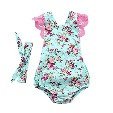 1d0c02b23c01 Familizo Newborn Infant Baby Girls Romper Floral Print Lace Jumpsuit  Headband Outfits Set Short