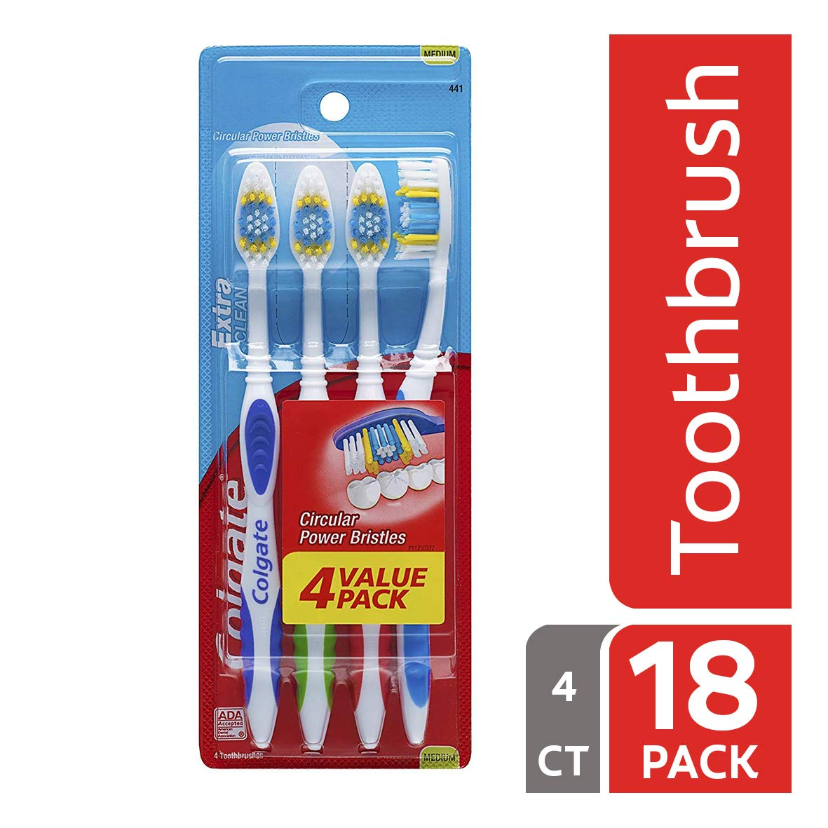 Colgate Extra Clean Full Head Toothbrush, Medium - 4 Count (Pack of 18) by Colgate