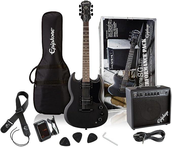 Epiphone SG rendimiento sólido cuerpo guitarra eléctrica paquete, Pitch Negro Acabado Satinado: Amazon.es: Instrumentos musicales