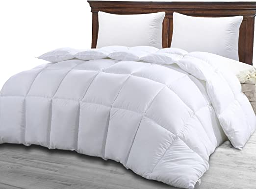 Queen Comforter Duvet Insert White - Quilted Comforter with Corner Tabs - Hypoallergenic, Plush Siliconized Fiberfill, Box Stitched Down Alternative Comforter