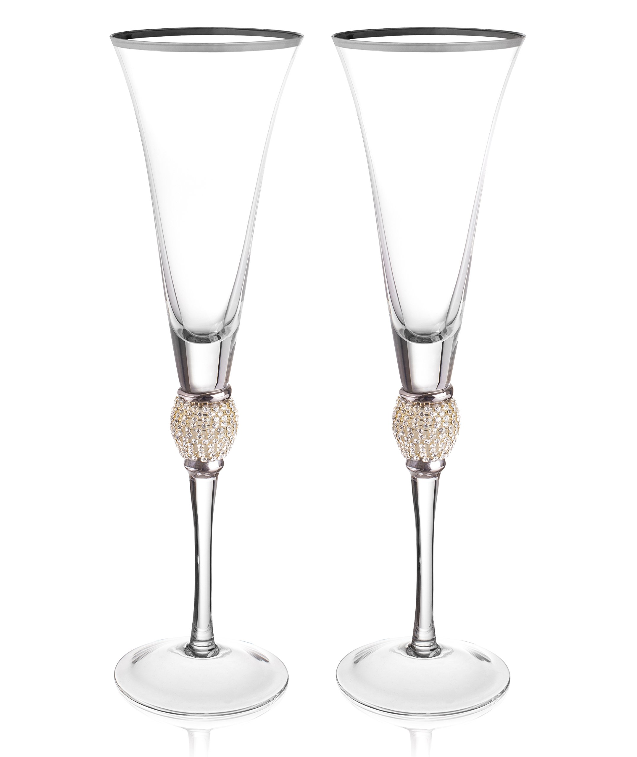 Trinkware Set of 2 Champagne Flutes - Rhinestone''DIAMOND'' Studded Glasses With Silver Rim - Long Stem, 7oz, 11-inches Tall – Elegant Glassware And Stemware