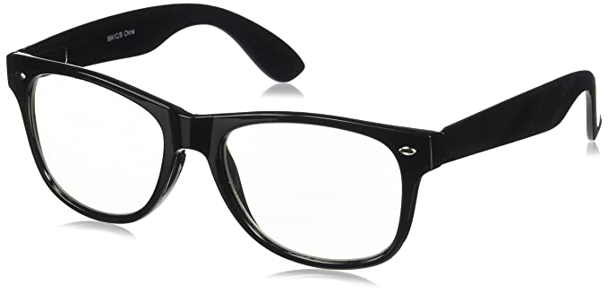 020fc0d0bb3 Image Unavailable. Image not available for. Color  RETRO NERD Geek  Oversized BLACK Framed Spring Temple Clear Lens Eye Glasses