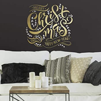 RoomMates Merry Christmas Quote Peel and Stick Giant Wall Decals