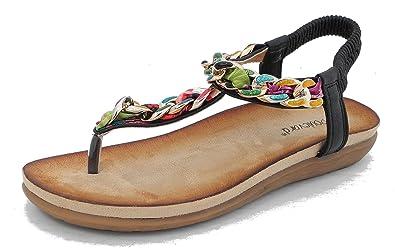 d01ea833b Womens Ladies Cushion Comfort Wedge Low Heel Toe Post Sandals with ...
