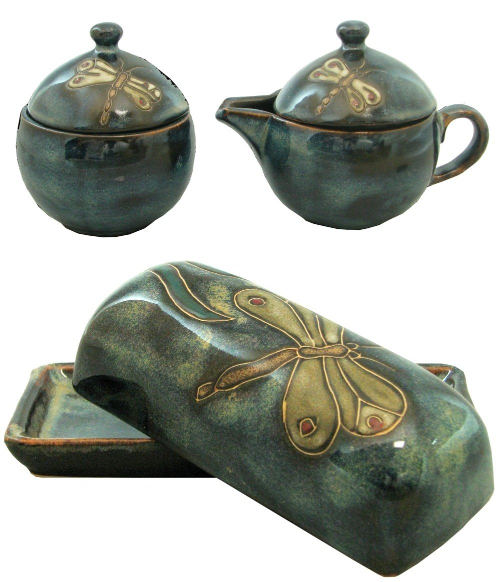 Mara Stoneware Collectible Sugar Bowl-Creamer-Butter Dish Set - Mexican Pottery -Blue Dragonfly Design