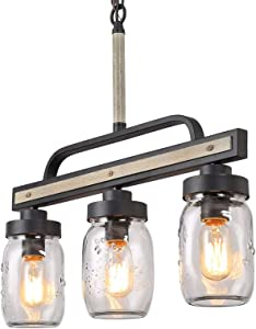 """Farmhouse Mason Jar Lighting, Rustic Chandelier in Faux Wood Metal Finish with Glass Shade, Linear Pendant Light Fixture for Kitchen Island, L22'' x H19.5"""""""