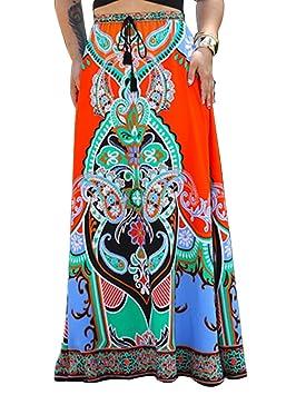 Falda Larga para Mujer Ropa De Playa Falda Maxi Bohemia Faldas ...