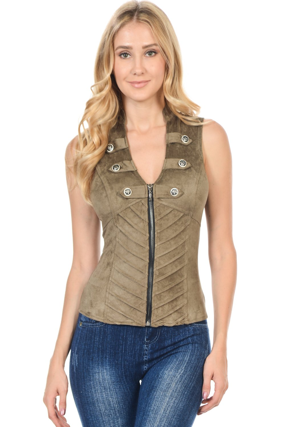 Lydia U.S.A. Sexy Suede Spandex Military Look Club Wear Rave Vest Jacket Top (Medium, Olive) by Lydia USA