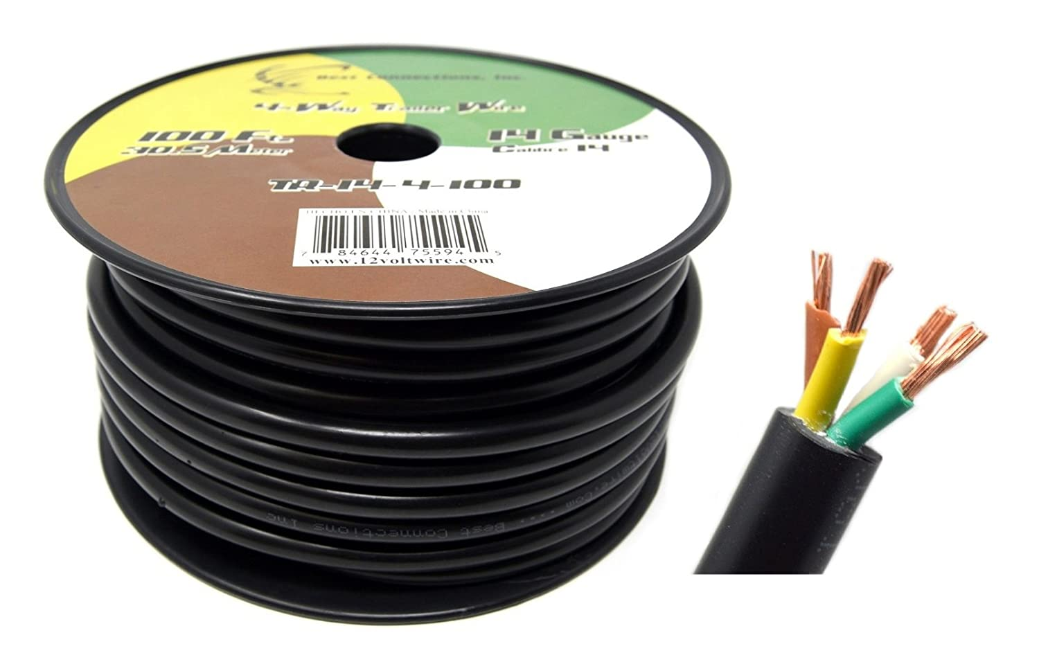 Best Connections Inc 4 Way Trailer Wire Harness 14GA 100ft Insulated  Stranded Copper Clad Aluminum