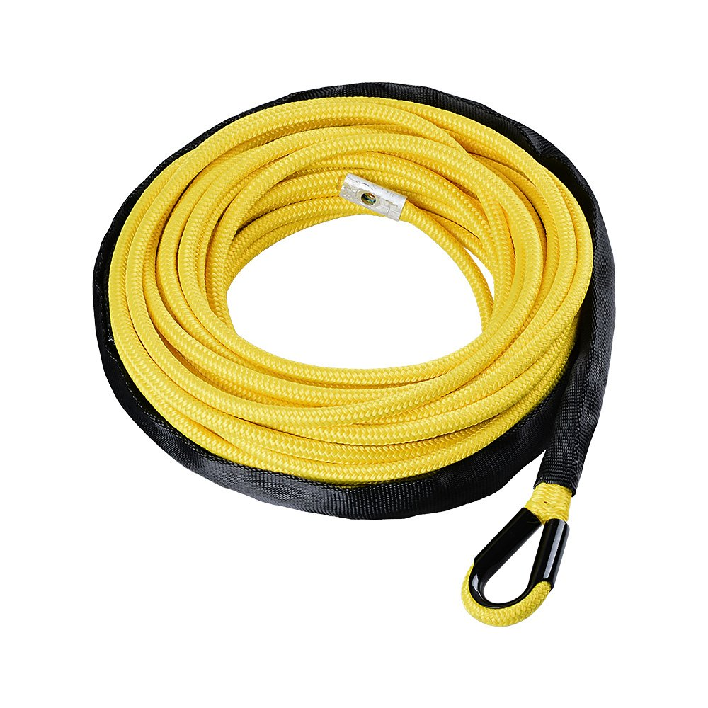 50ft x 1//4 inch Black 7000lbs Synthetic 12-Strand Winch Rope with Red Heat Guard ATV UTV SUV Off-Road Ramsey