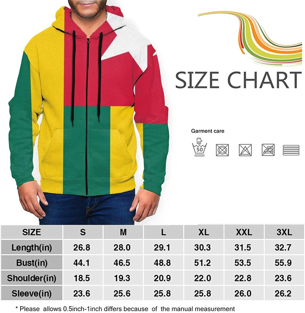 Togos Flag Wild Zip-up Sweatshirt Hoodie Kangaroo Pocket for Mans